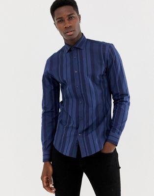 Immagine 1 di Moss London - Camicia skinny a righe blu navy vivaci