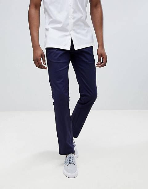Moss London – Enge Stretch-Chinos in Marineblau