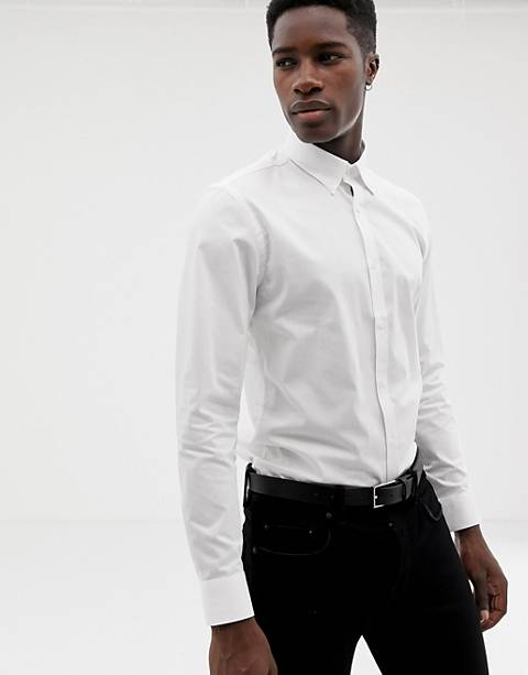 Moss London – Enges, langärmliges Stretch-Hemd mit Button-Down-Kragen