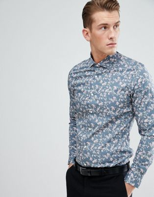 Moss London Extra Slim Shirt In Blue With Floral Print