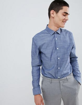 Image 1 of Moss London Long Stretch Sleeve Skinny Shirt in Slub