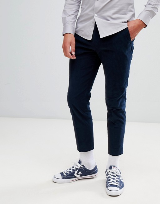Afbeelding 1 van Moss London - Skinny-fit broek in marineblauw corduroy