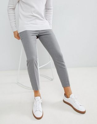 Moss London skinny fit pleated pants in light grey flannel