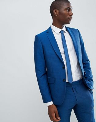 Moss London Skinny Suit Jacket In Blue