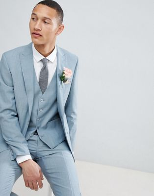 Moss London Skinny Wedding Suit Jacket In Sage