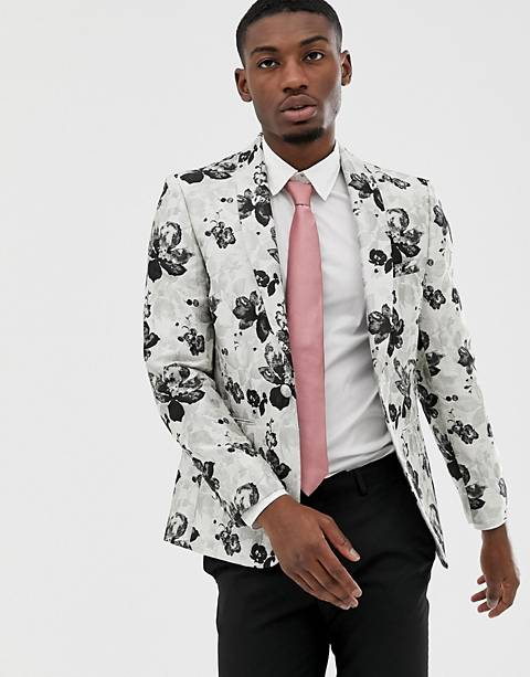 Moss London slim blazer with floral jacquard in grey