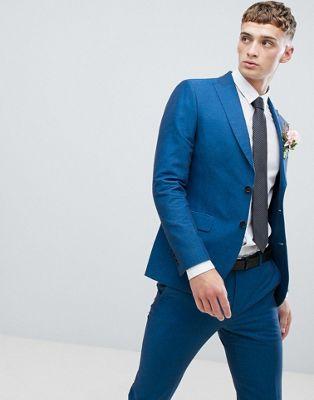 Moss London - Veste de costume slim en lin - Bleu