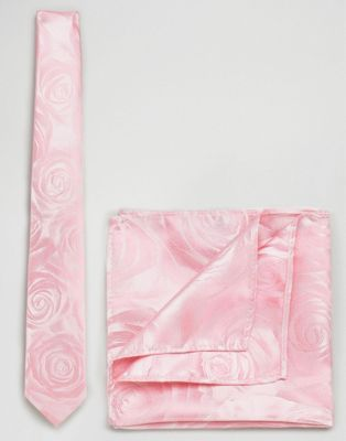 Moss London Wedding Tie & Pocket Square In Rose