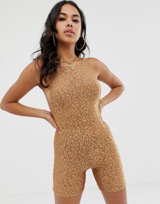 Image 1 of Motel shorts unitard in shine leopard