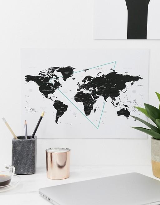 Moxon world map A3 wall art