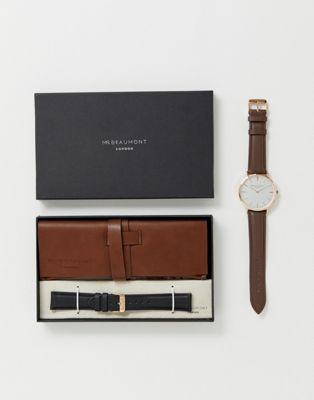 Mr Beaumont leather watch gift set