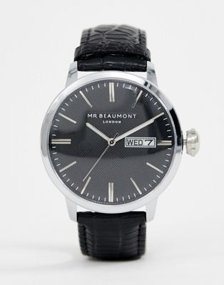 Mr Beaumont leather watch with black dial