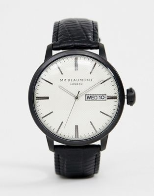Mr Beaumont leather watch with white dial