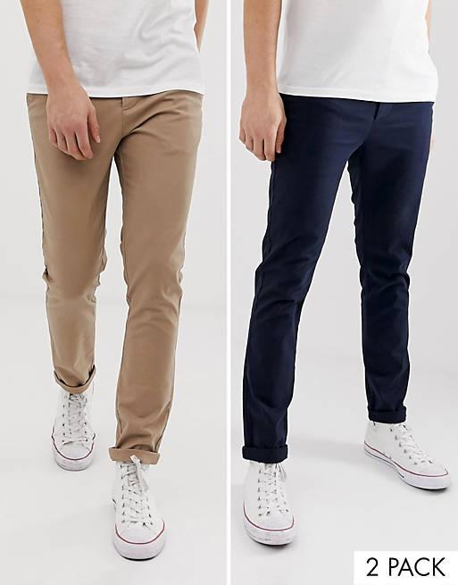 Mørkeblå og beige skinny lærredsbukser, pakke med 2, fra ASOS DESIGN