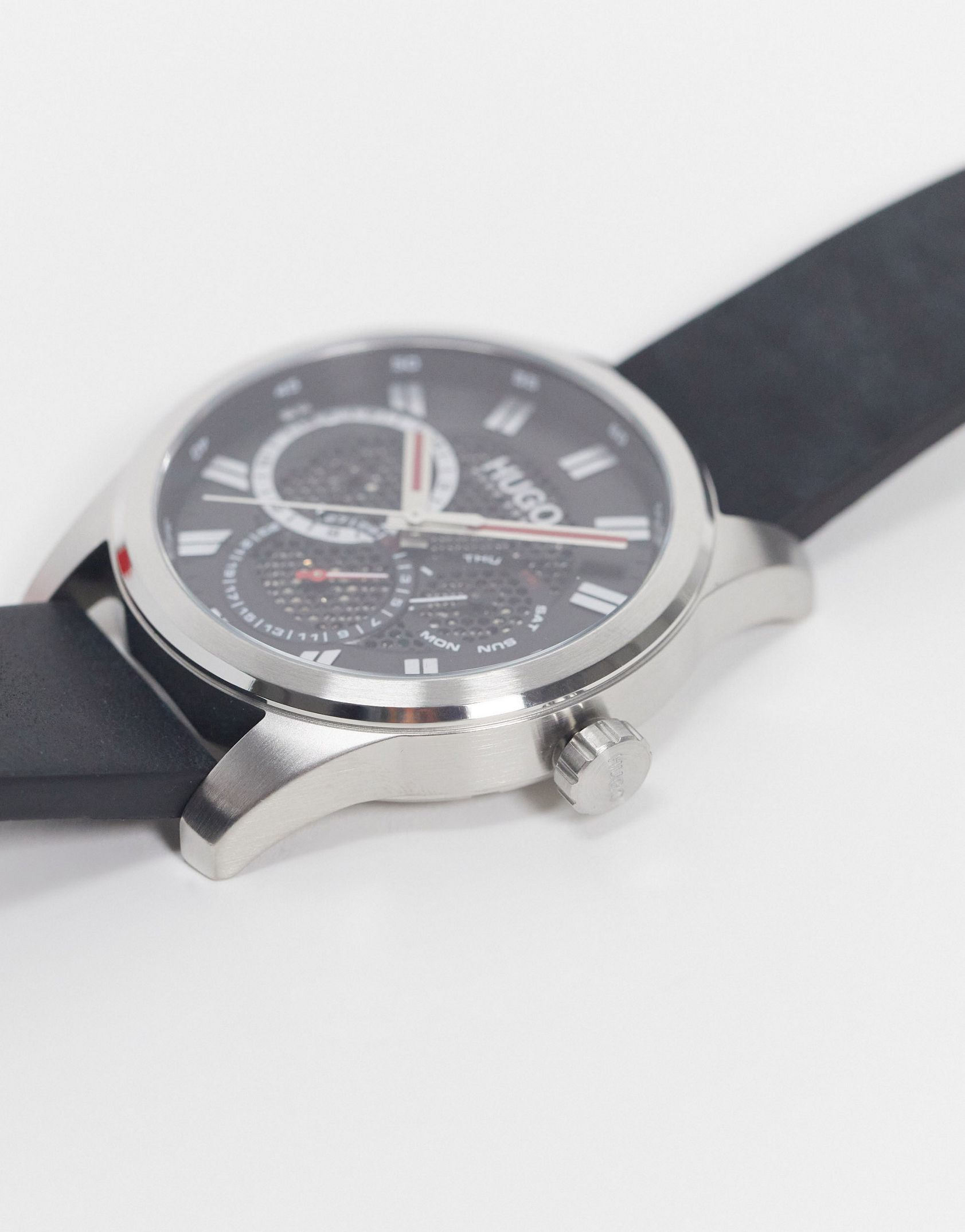Hugo mens leather chronograph watch in black -  Price Checker