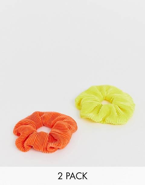 My Accessories - London Exclusive - Set van 2 plisse haarscrunchies in neon