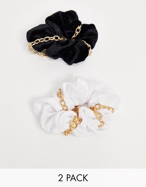 My Accessories London Exclusive – Zestaw 2 aksamitnych gumek z łańcuszkiem