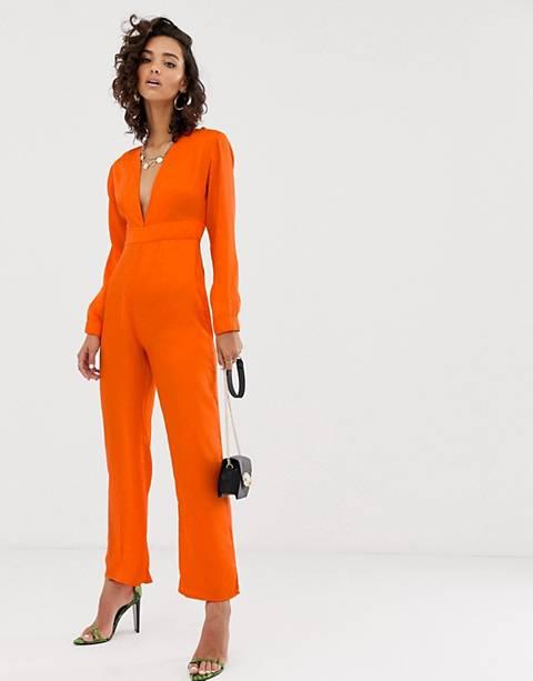Na-kd - Jumpsuit met diepuitgesneden V-hals in oranje