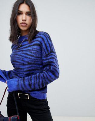Na-kd - Pull duveteux à imprimé tigre - Bleu
