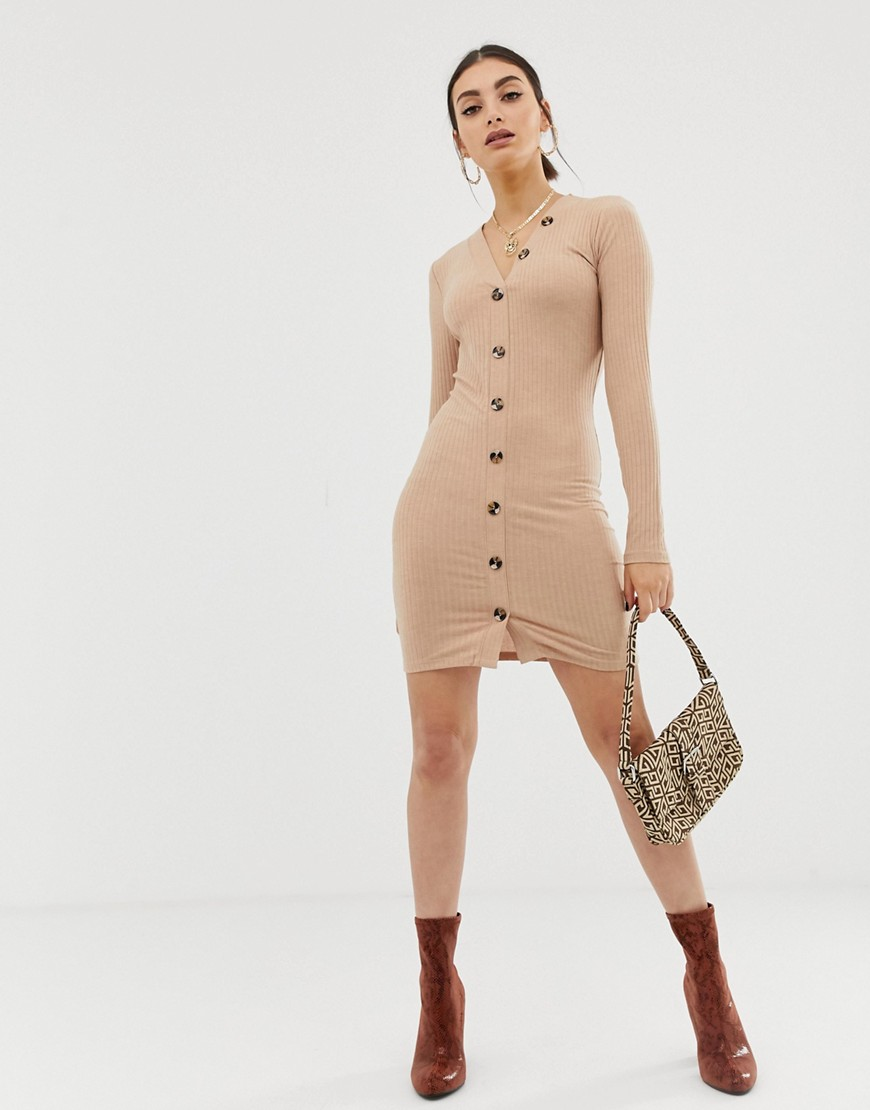 Na Kd Ribbed Dress With Button Detail In Beige by Na Kd