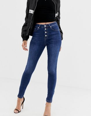 Na-kd skinny jeans with zip ankle in mid blue