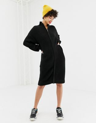 Na-kd zip front knitted dress in black