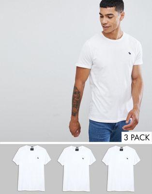 Набор из 3 белых футболок с круглым вырезом и логотипом Abercrombie & Fitch