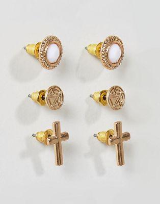 Набор из 3 пар золотистых серег с камнями Chained & Able