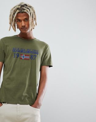 Image 1 of Napapijri Solin logo crew neck t-shirt in khaki