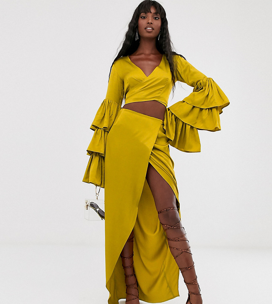 Насыщенно-желтая юбка миди с запахом TTYA-Желтый