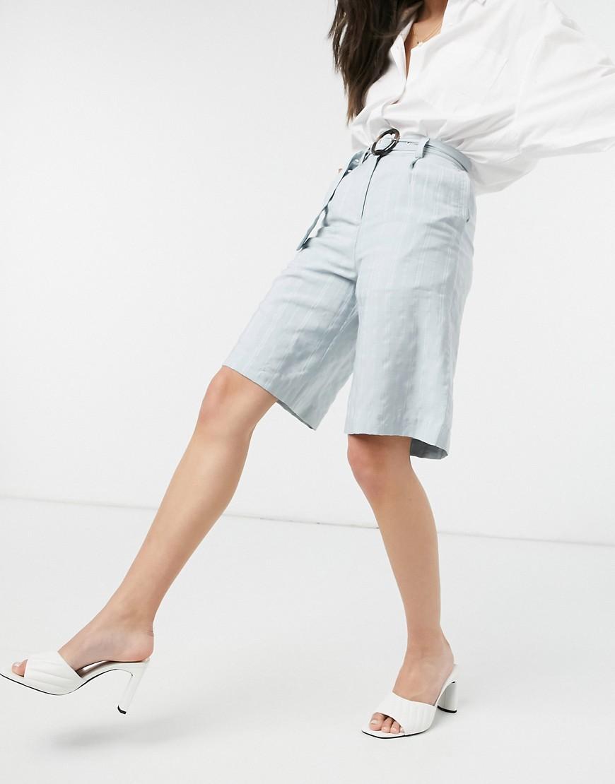 Native Youth - Longline shorts med bælte-Blå