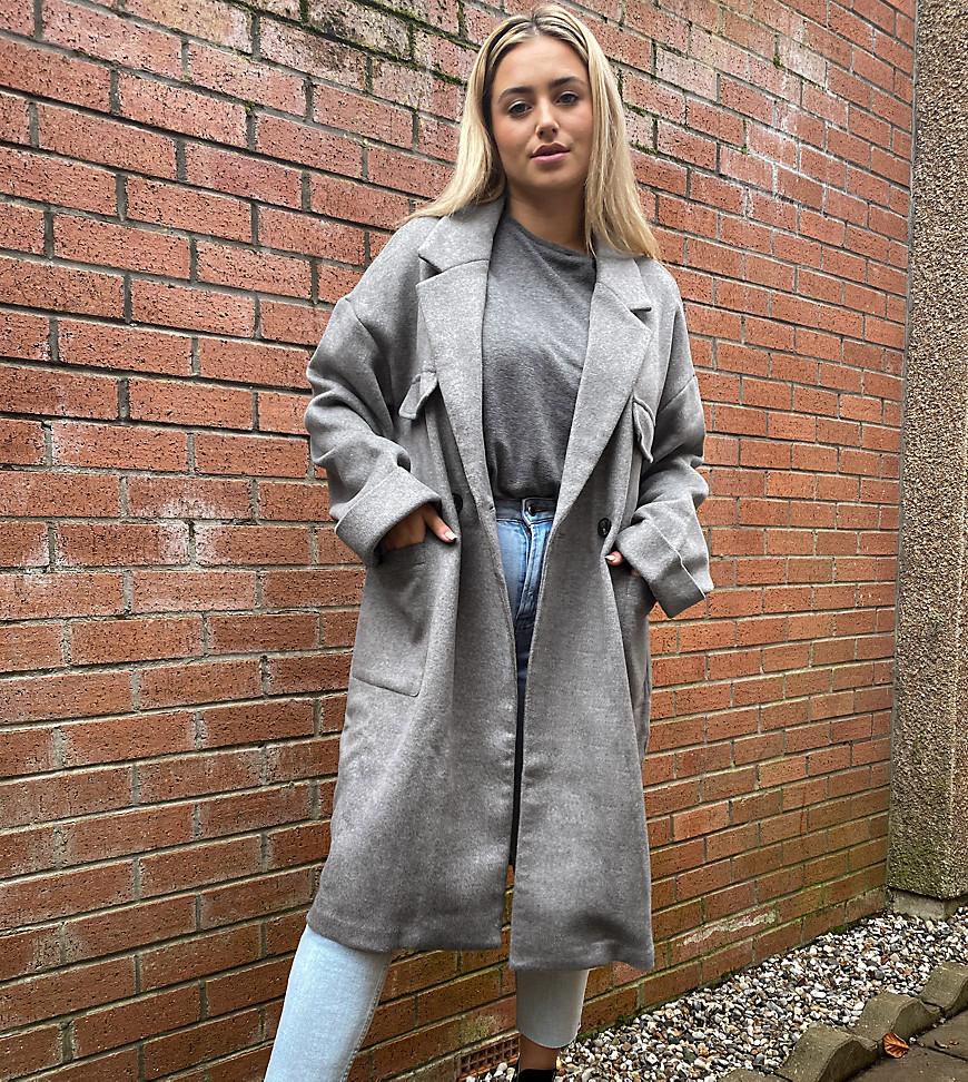Native Youth Plus - Afslappet longline-frakke med lappelommer-Grå