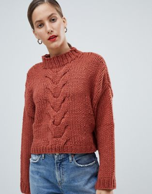 Image 1 of Native Youth Premium Hand Knitted Cropped Cable Knit Sweater