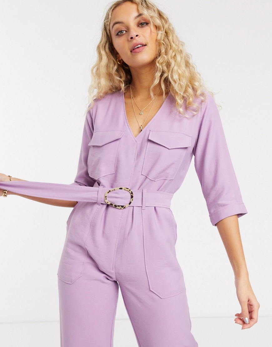 Native Youth relaxed belted jumpsuit-Purple - Native Youth jumpsuits
