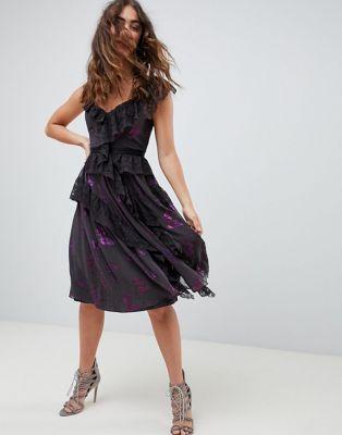 Needle and Thread lace frill midi dress in multi