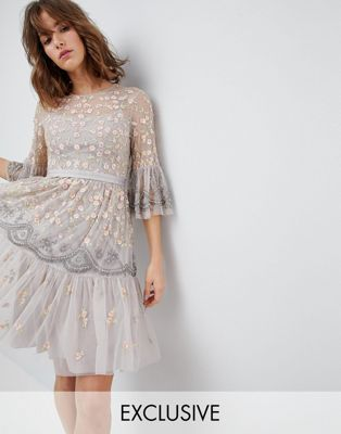 Needle & Thread Allover Embroidered and Embellished Midi Dress with Fluted Sleeves