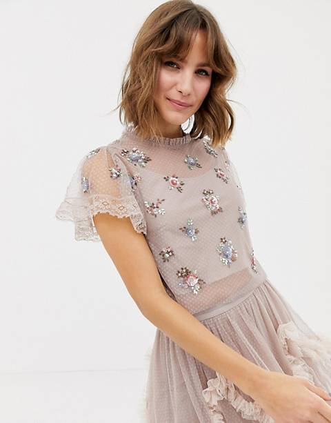 Needle & Thread embellished crop top in rose