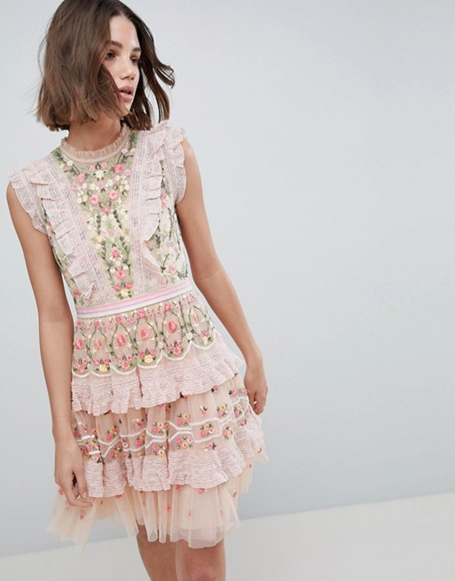 Image 1 of Needle & Thread High Neck Layered Mini Dress With Embroidery