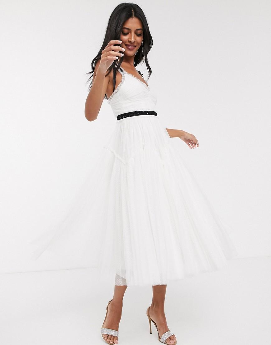 Needle & Thread - Robe de mariée mi-longue à détail nœud avec taille contrastante - Ivoire-Blanc