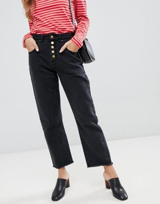 Neon Rose – Jeans i mom-modell med hög midja och knappar framtill