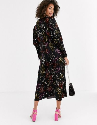 Never Fully Dressed long shirred sleeve midi dress in contrast black spot print