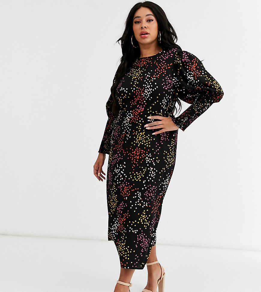 never fully dressed plus long shirred sleeve midi dress in contrast black spot print-multi