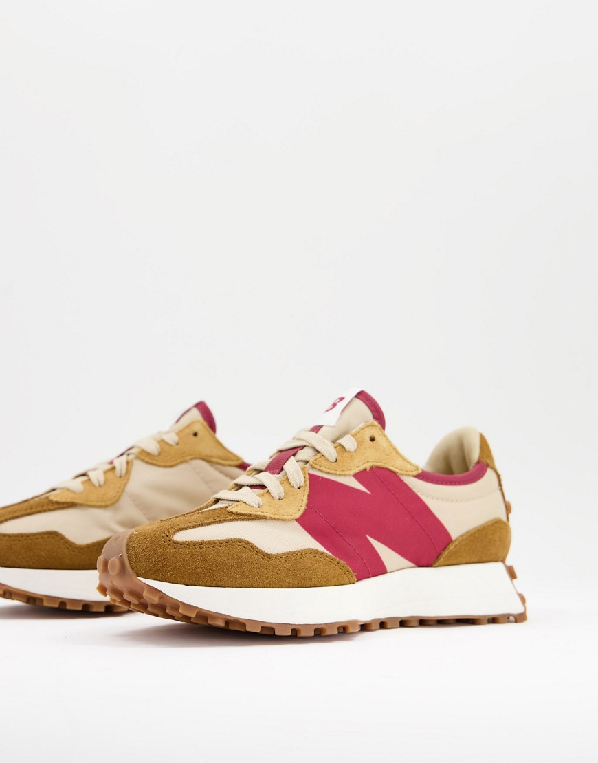 New Balance - 327 - Gyldenbrung og pink sneakers-Grå