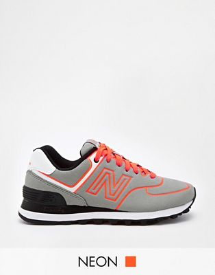 new balance 574 orange grey