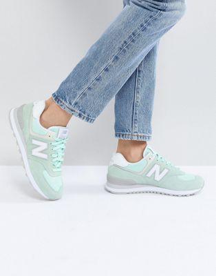 Bild 1 von New Balance – 574 – Sneaker aus Wildleder in Mintgrün
