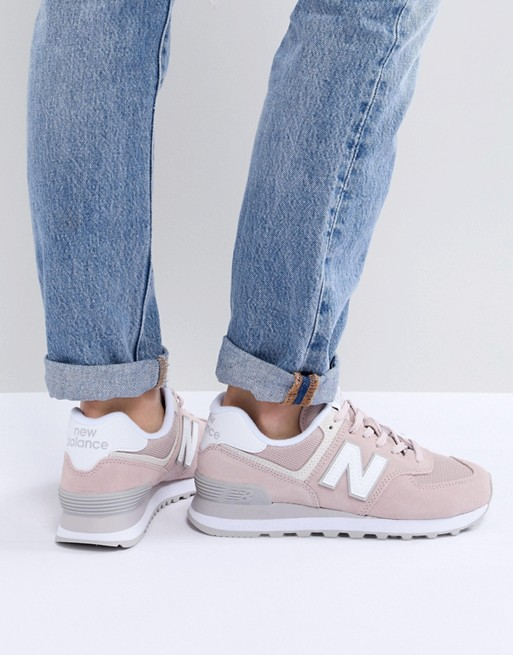 New Balance 574 Sneakers rosa in pelle scamosciata