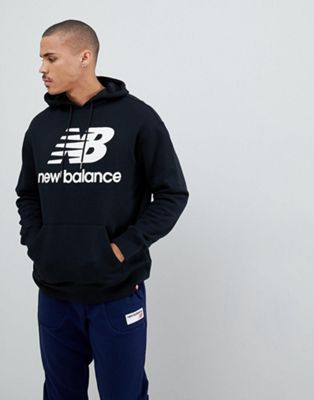 New Balance pullover hoodie with large logo in black MT83585_BK
