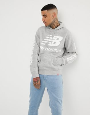 New Balance pullover hoodie with large logo in grey