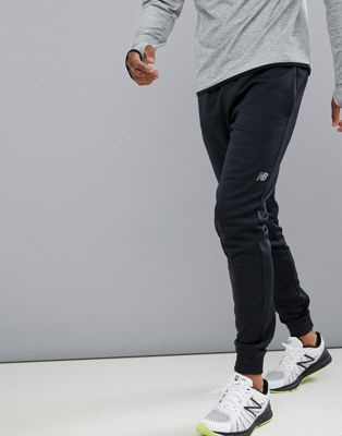 New Balance Running fleece tapered jogger in black