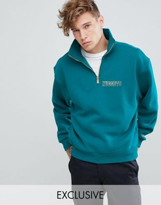 New Era Denver Nuggets 1/4 zip sweat with back print in green exclusive to asos